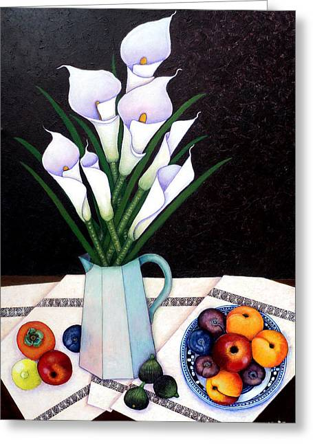 Still Life With Callas Greeting Card by Madalena Lobao-Tello