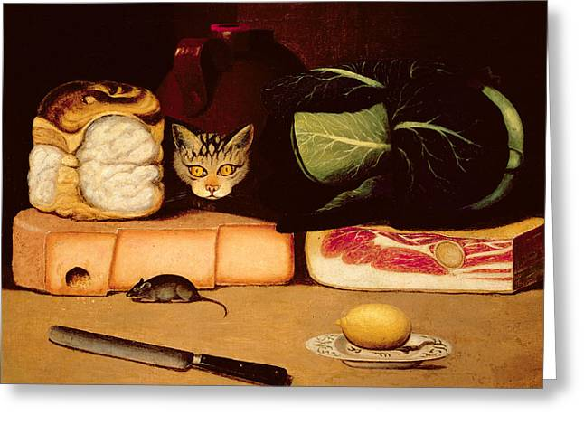 Still Life With Cat And Mouse Greeting Card by Anonymous