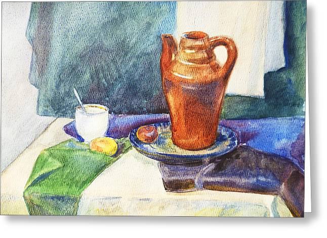 Still Life With Cup And Coffeepot  Greeting Card by Irina Sztukowski