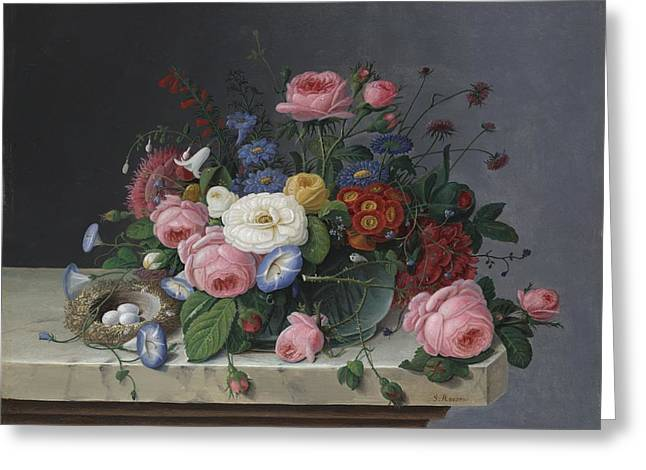 Still Life With Flowers And Bird's Nest Greeting Card by Severin Roesen