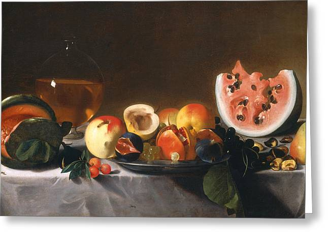Still Life With Fruit And Carafe Greeting Card