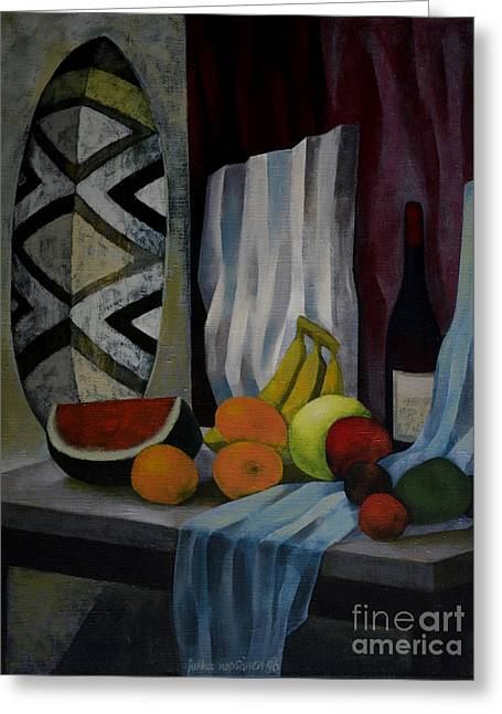 Still Life With Fruit Greeting Card by Jukka Nopsanen