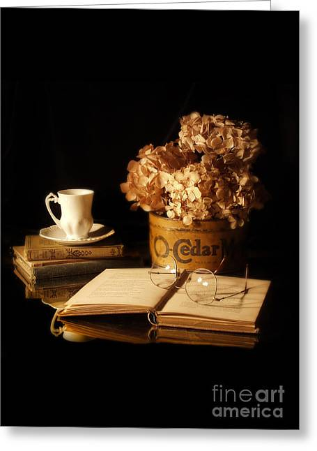 Still Life With Hydrangea And Books Greeting Card by Jill Battaglia