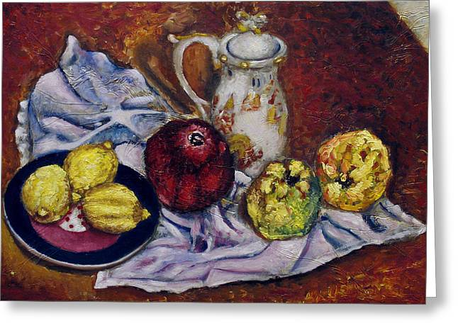 Still Life With  Lemons And Quinces Greeting Card by Vladimir Kezerashvili