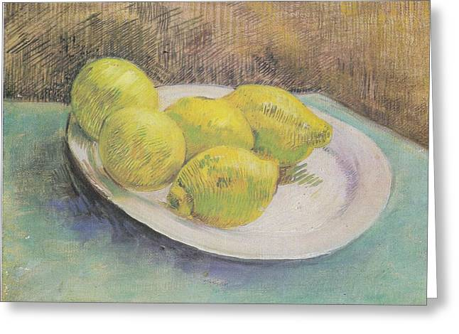 Still Life With Lemons On A Plate Greeting Card by Vincent Van Gogh