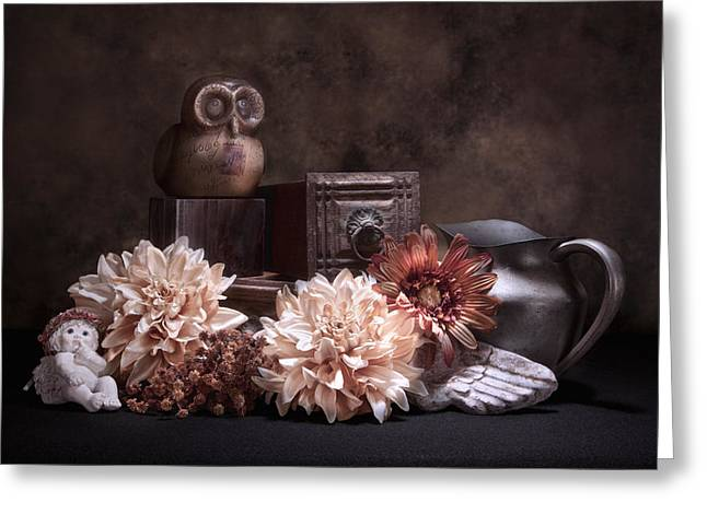 Still Life With Owl And Cherub Greeting Card by Tom Mc Nemar