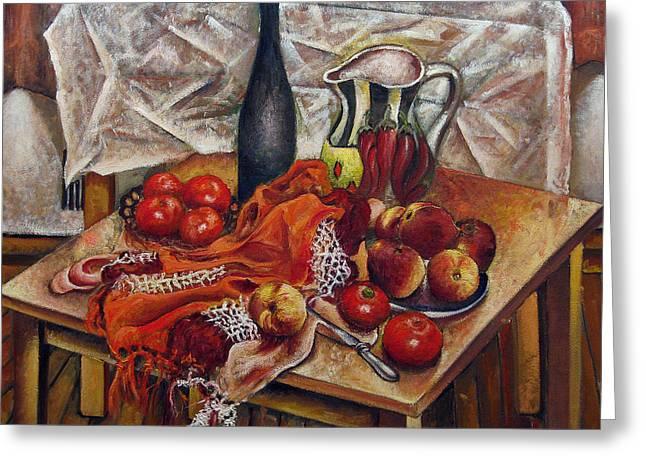 Still Life With Peaches And Tomatoes Greeting Card by Vladimir Kezerashvili