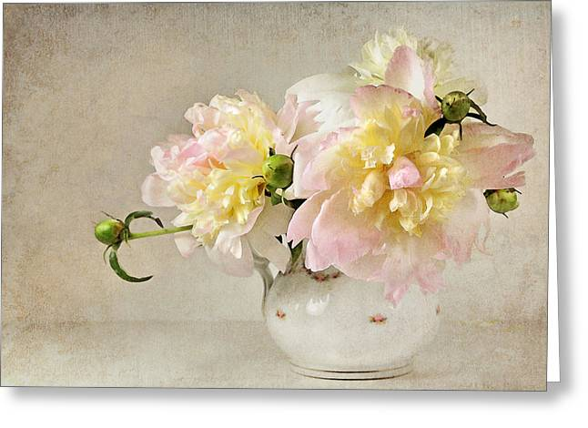 Greeting Card featuring the photograph Still Life With Peonies by Karen Lynch