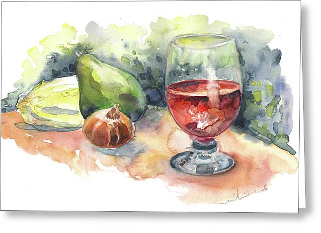 Still Life With Red Wine Glass Greeting Card by Miki De Goodaboom