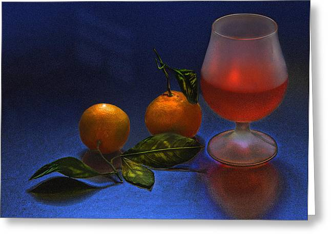 Still Life With Tangerins Greeting Card by Vladimir Kholostykh