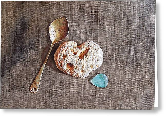 Still Life With Teaspoon And Heart Stone Greeting Card by Elena Kolotusha