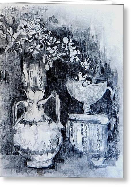 Still Life With Vases Greeting Card by Jolante Hesse