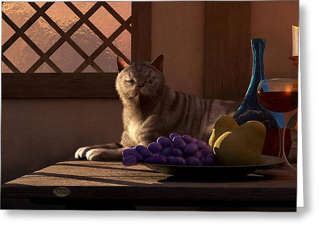 Still Life With Wine Fruit And Cat  Greeting Card