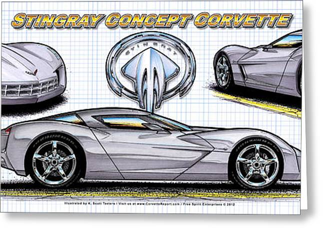 Greeting Card featuring the drawing 2010 Stingray Concept Corvette by K Scott Teeters