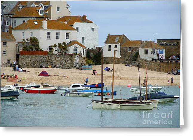 St.ives Harbour Greeting Card by Anne Gordon