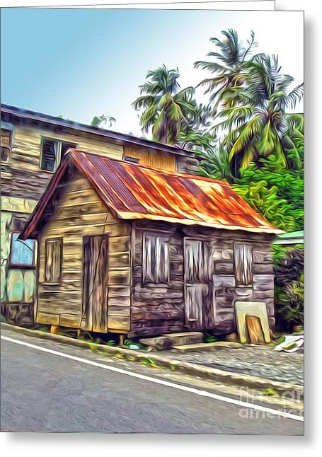 Stlucia - Rusted Shack Greeting Card by Gregory Dyer