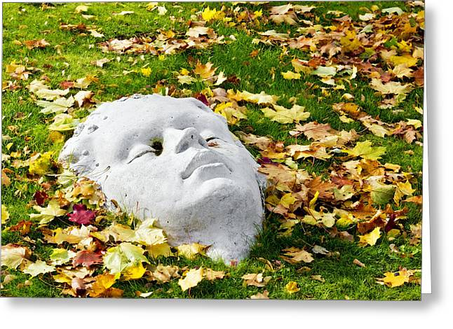 Stone Autumn Face Greeting Card