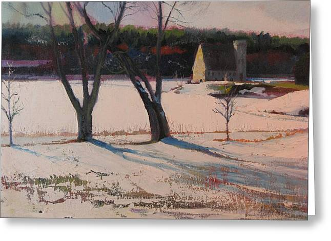 Stone Church  In Winter Greeting Card by Sid Solomon