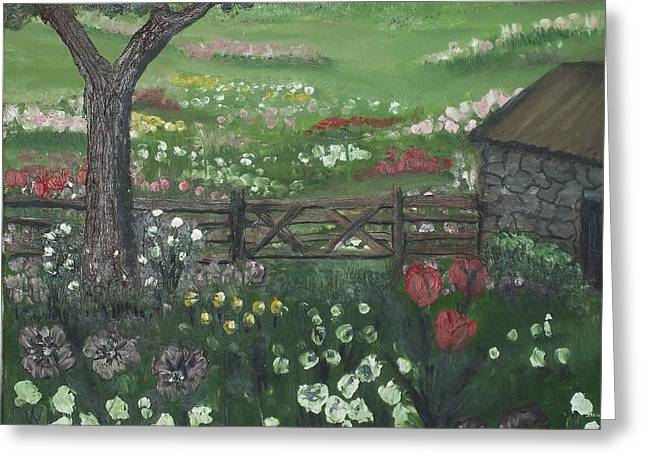 Greeting Card featuring the painting Stone Cottage by Angela Stout