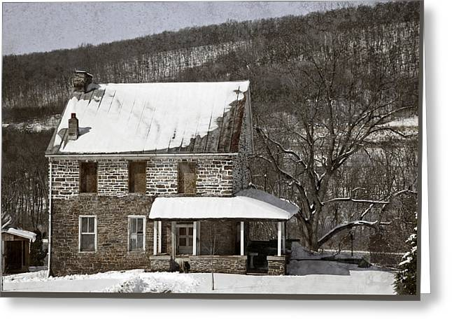 Stone Farmhouse In Snow Greeting Card by John Stephens