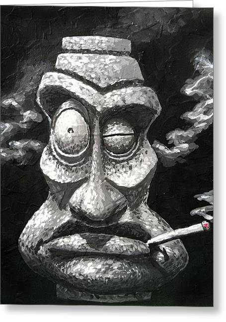 Stone Smoker Tiki Greeting Card by Trey Surtees
