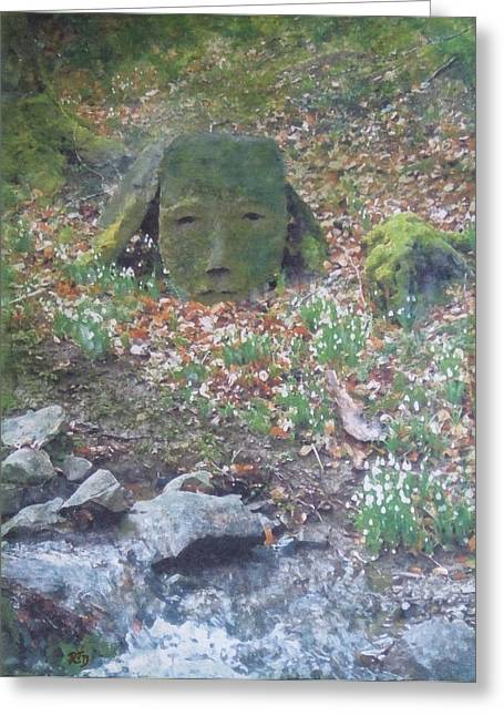 Greeting Card featuring the painting Stoneface Looking At Me by Richard James Digance