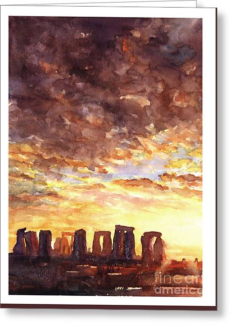 Stonehenge Sunrise Greeting Card by Ryan Fox