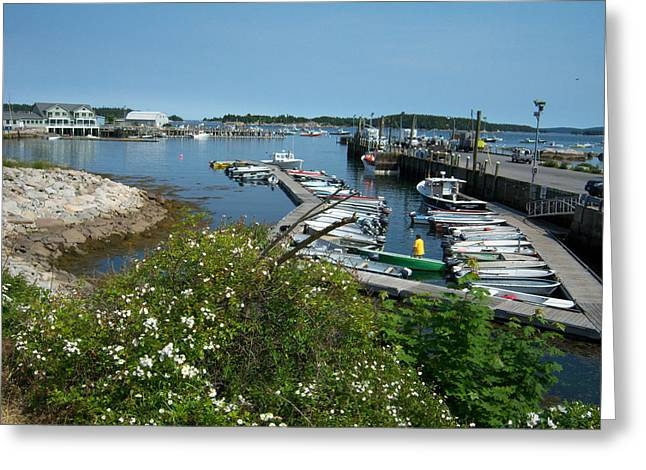 Stonington Dock Greeting Card by KJ Waters