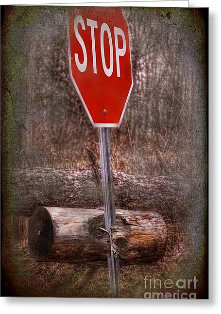 Stop Firewood Transport Greeting Card by The Stone Age