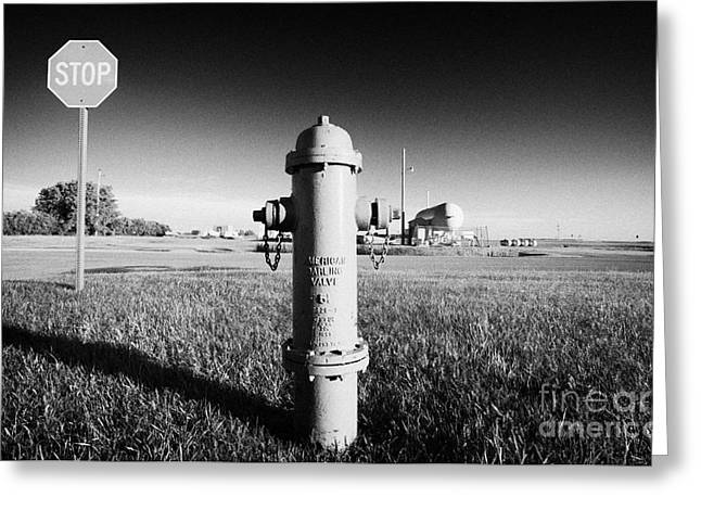 Stop Sign Against Blue Sky And Red Darling Valve Fire Hydrant In Rural Michigan North Dakota Usa Greeting Card by Joe Fox