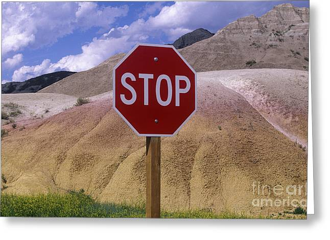 Stop Sign In South Dakota Badlands Greeting Card by Will & Deni McIntyre
