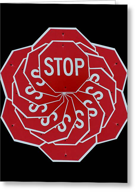 Stop Sign Kalidescope Greeting Card by Denise Keegan Frawley