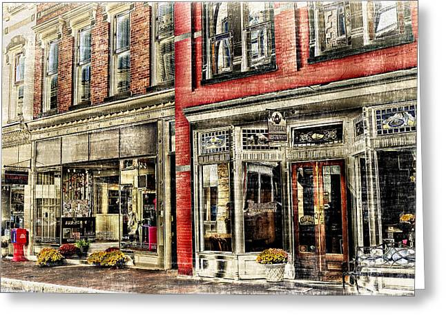 Store Front Downtown Staunton Greeting Card by Kathy Jennings