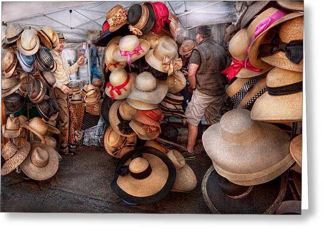 Storefront - Hat Stand Greeting Card by Mike Savad