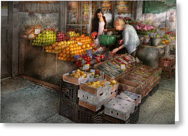Storefront - Hoboken Nj - Picking Out Fresh Fruit Greeting Card