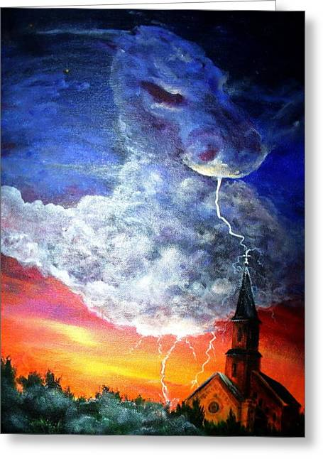 Storm Against Christianity Greeting Card by Leslie Hoops-Wallace