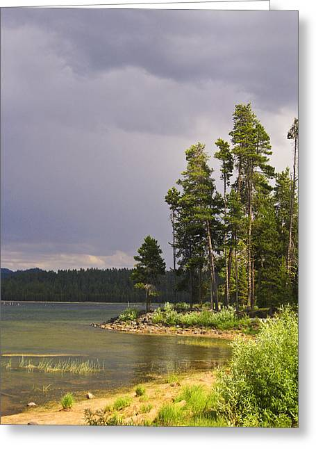 Greeting Card featuring the photograph Storm Clouds Over A Lake by Anne Mott