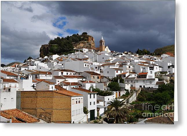 Storm Clouds Over Ardales Spain Greeting Card by Mary Machare