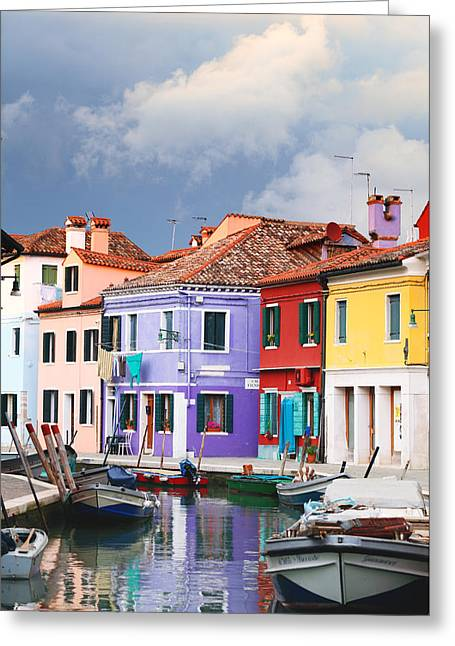 Storm Clouds Over Burano Greeting Card by Paul Cowan