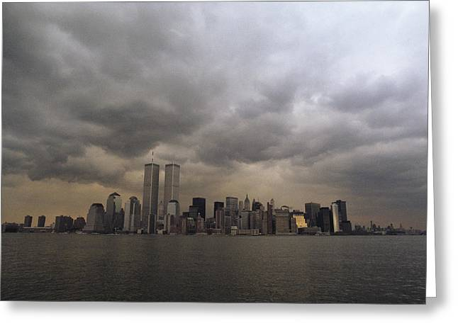 Storm Clouds Over Lower Manhattan Greeting Card by Medford Taylor