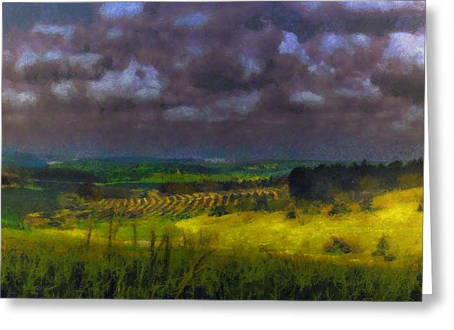 Storm Clouds Over Meadow Greeting Card