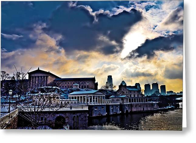 Storm Clouds Over Philadelphia Greeting Card by Bill Cannon