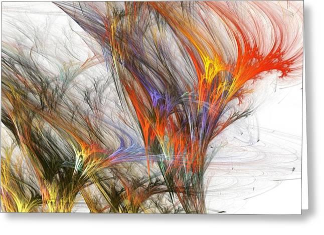 Storm In Fractal-trees Greeting Card by Steve K