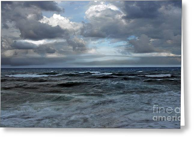 Storm Off Coral Cove Beach Greeting Card by Richard Nickson