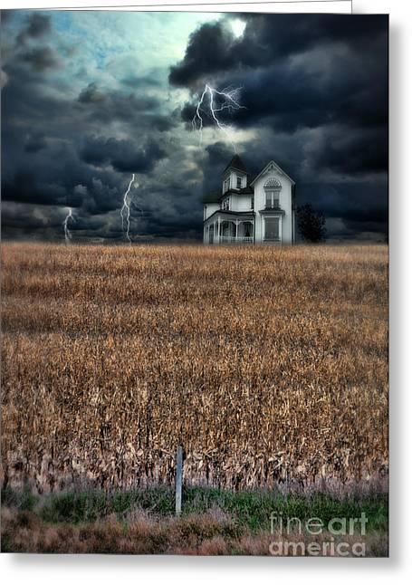 Storm Over Farmhouse Greeting Card by Jill Battaglia