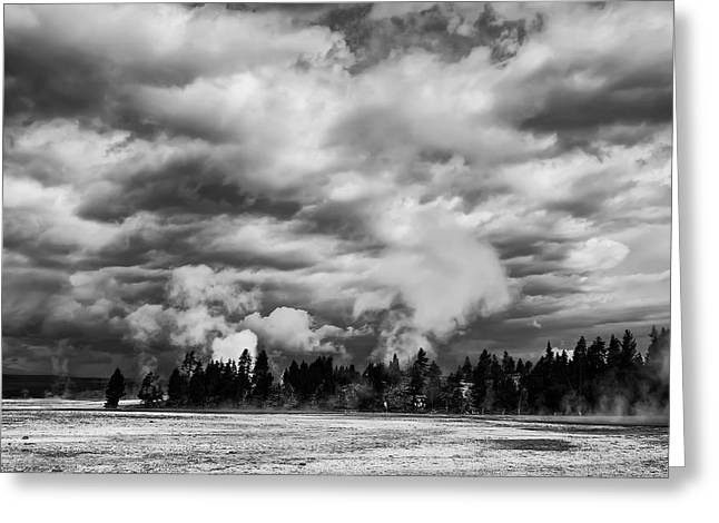 Storm Over Firehole Lake Drive Greeting Card by Daniel Hagerman