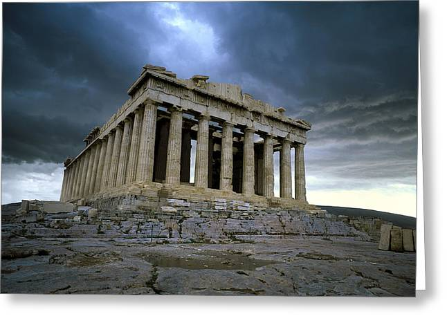 Storm Over The Parthenon Greeting Card