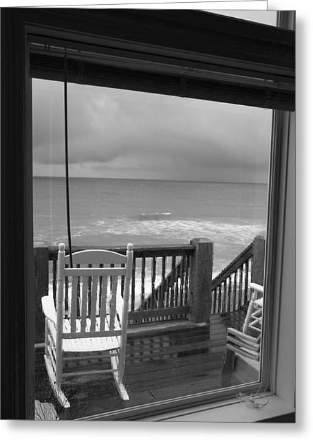 Storm-rocked Beach Chairs Greeting Card by Betsy Knapp