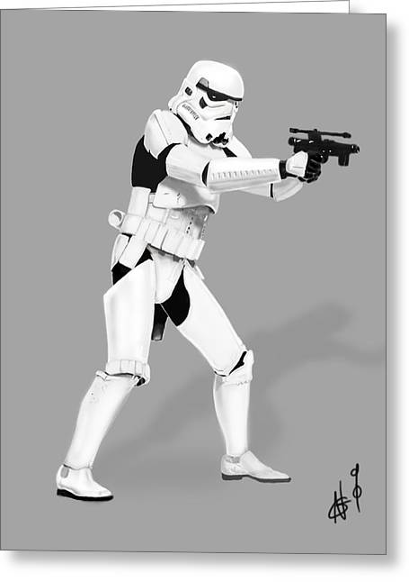 Storm Trooper Digital Drawing Greeting Card