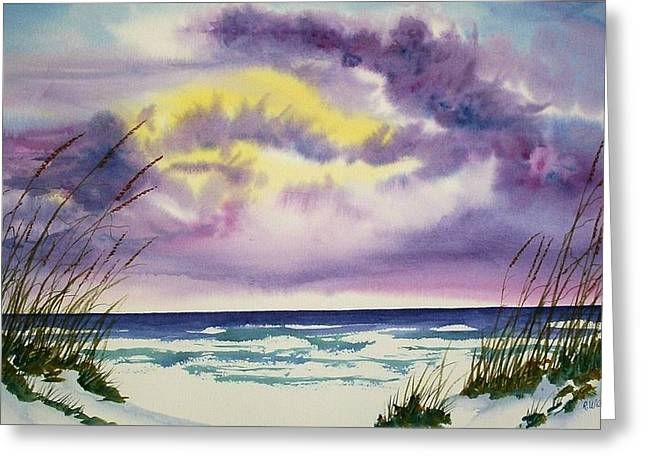 Greeting Card featuring the painting Storm Warning by Richard Willows